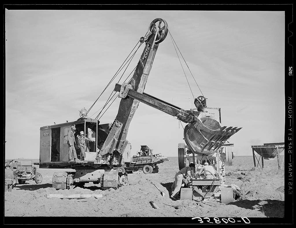Road construction. Gaines County, Texas