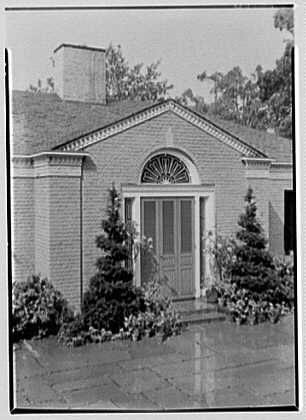 S.A. Mitchell, residence in Locust Valley, Long Island. Entrance detail from left above