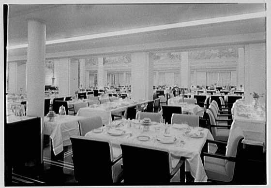 S.S. America, United States Lines. Dining room II