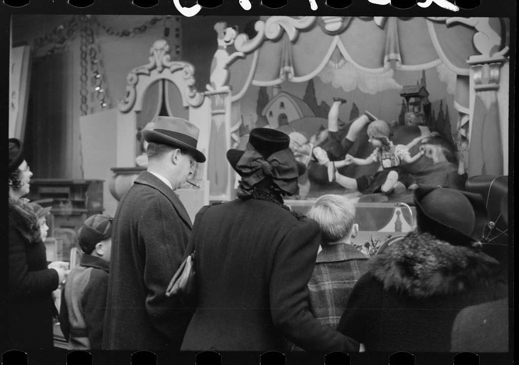 Untitled photo, possibly related to: Window shoppers watching toy display in downtown Providence, Rhode Island