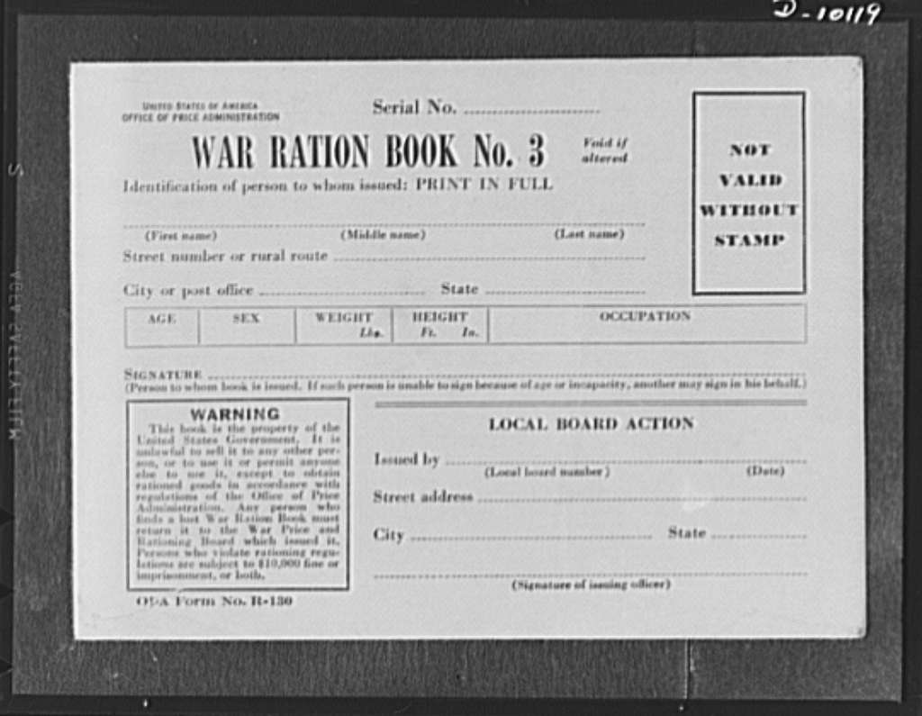 "War ration book no. 3. This new ration book, replacement for present books when their stamps are used up, will be distributed during the early summer. It contains four pages of ""point"" stamps, similar to the point stamps in war ration book 2, though slightly different in design and printed in brown ink. It also contains four pages of ""unit"" stamps for the type of rationing now used for sugar, coffee, and shoes. Each page of fourty-eight stamps bears the design of a different war machine, including guns, tanks, aircraft carriers and planes"