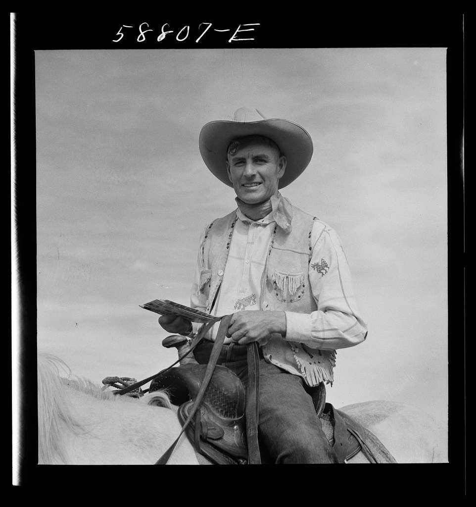 Lyman Brewster of Quarter Circle U. Ranch at annual rodeo, Ashland, Montana