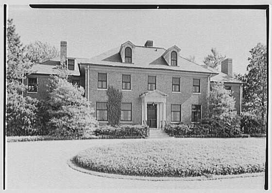Mrs. Schoolfield Grace, residence on Overlook Rd., Locust Valley, Long Island. Entrance facade