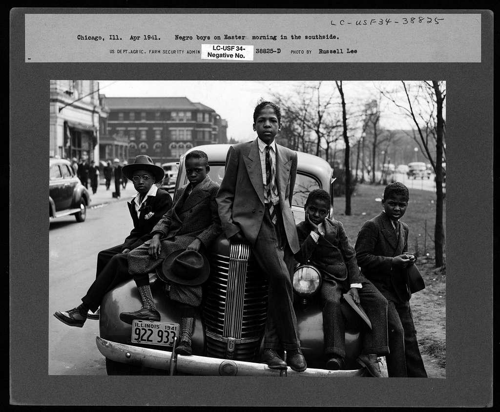 Negro boys on Easter morning. Southside, Chicago, Illinois