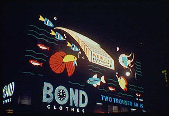 New York City views. Times Square, detail of Bond Clothes sign