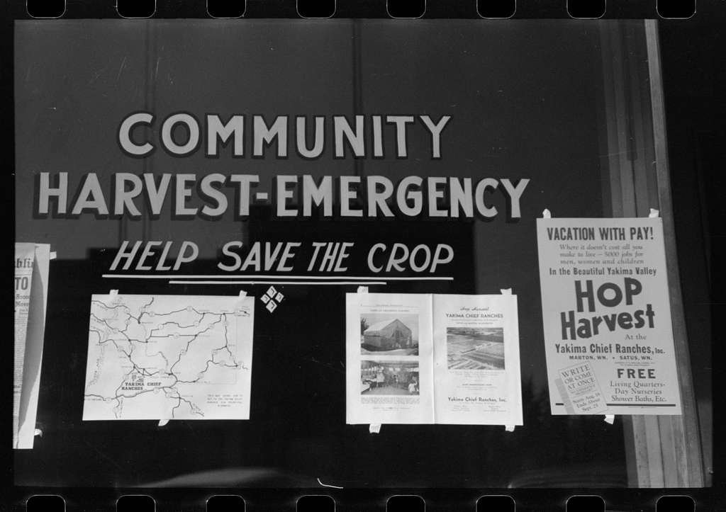 Sign at office of Community Harvest Emergency committee, Yakima, Washington
