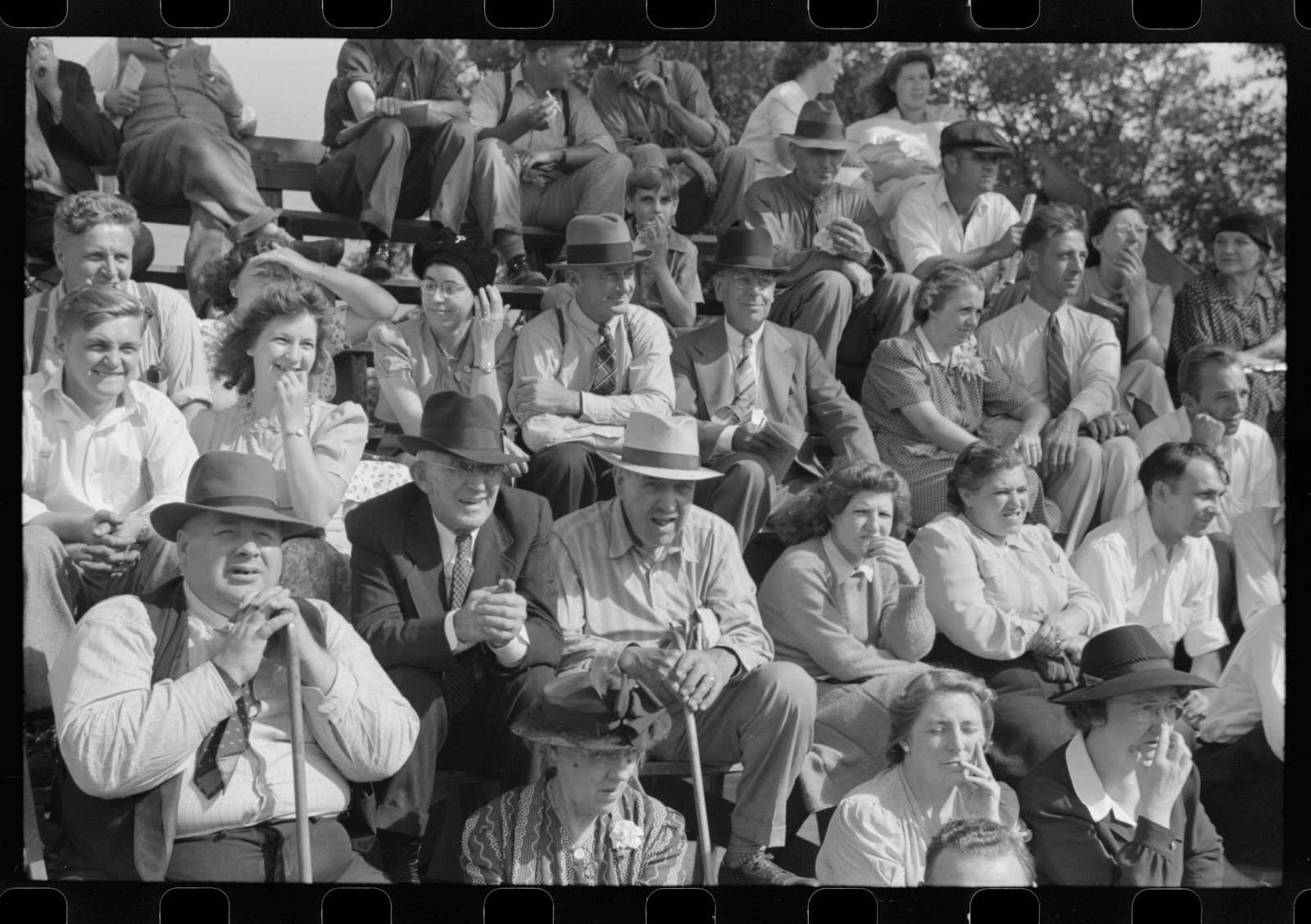 Spectators at the sulky races at the Rutland Fair, Vermont