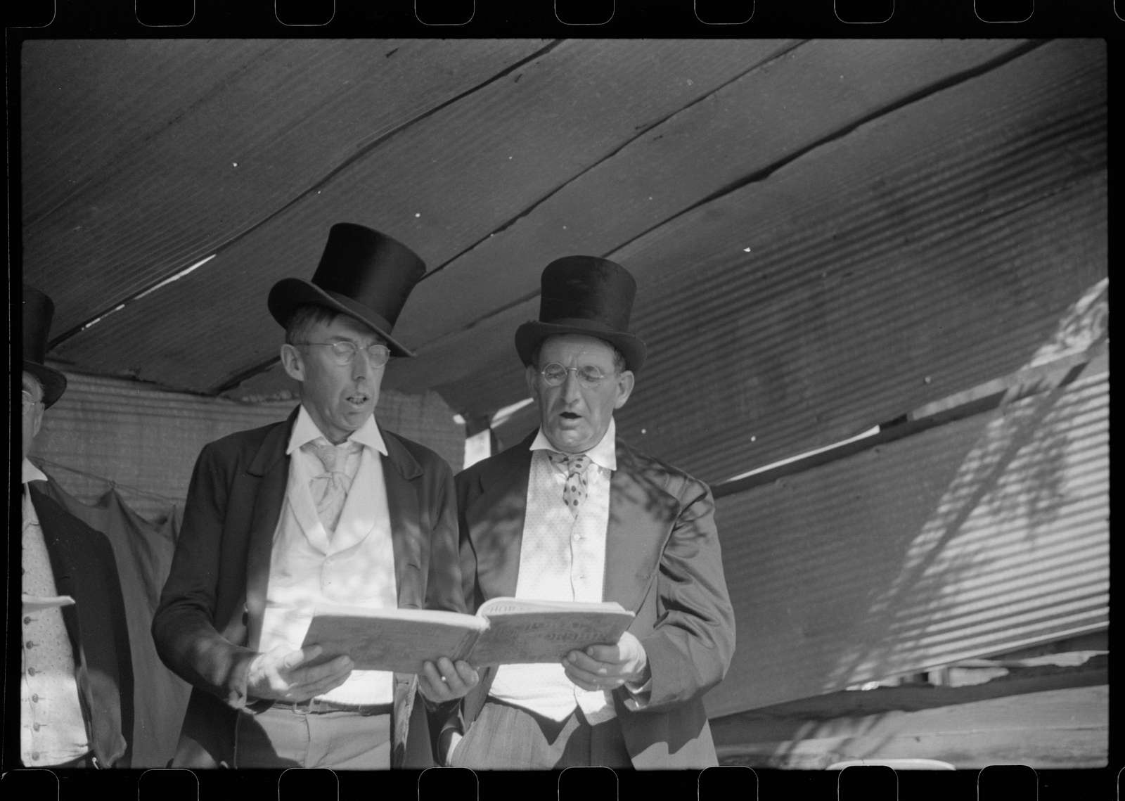 """Untitled photo, possibly related to: Ballad singers at the """"World's Fair"""" in Tunbridge, Vermont"""