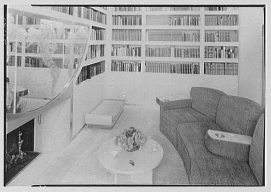 William Burden, Jr., residence at 10 Gracie Sq., New York City. Library, couch detail