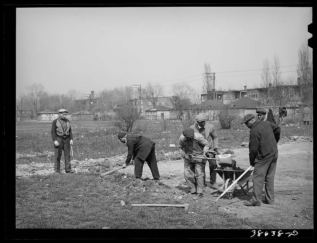 WPA (Work Projects Administration) work on playground on southside of Chicago, Illinois