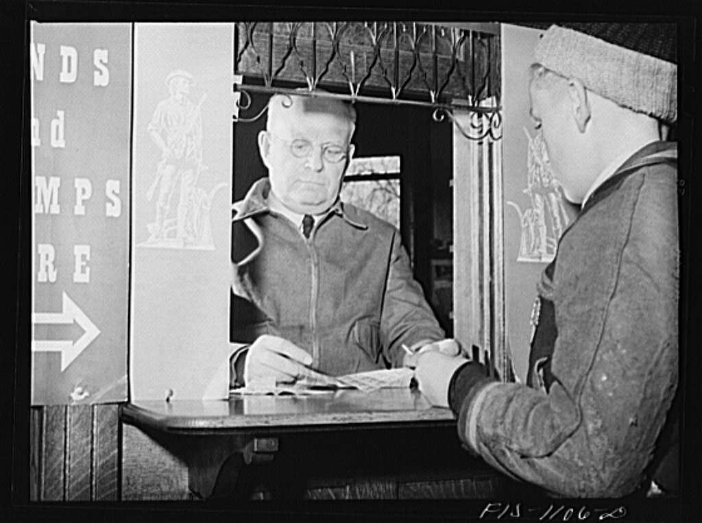 A Swedish postmaster in a small Minnesota town selling defense bonds to Swedish farmers