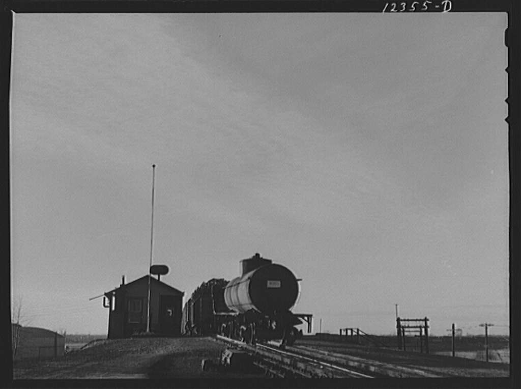Chicago, Illinois. Cars going over the hump at a Chicago and Northwestern Railroad yard