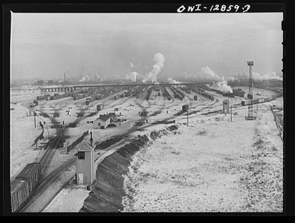 Chicago, Illinois. General view of the hump Chicago and Northwestern Railroad classification yard