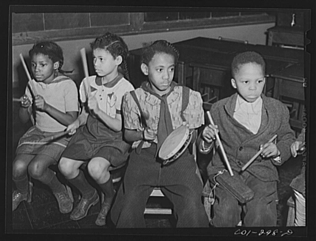 Chicago, Illinois. Ida B. Wells Housing Project. A childrens' rhythm band in a music class