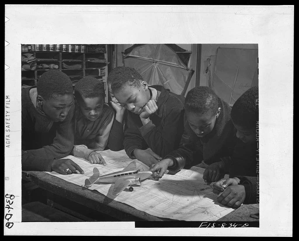 Chicago, Illinois. Ida B. Wells Housing Project. A model airplane class