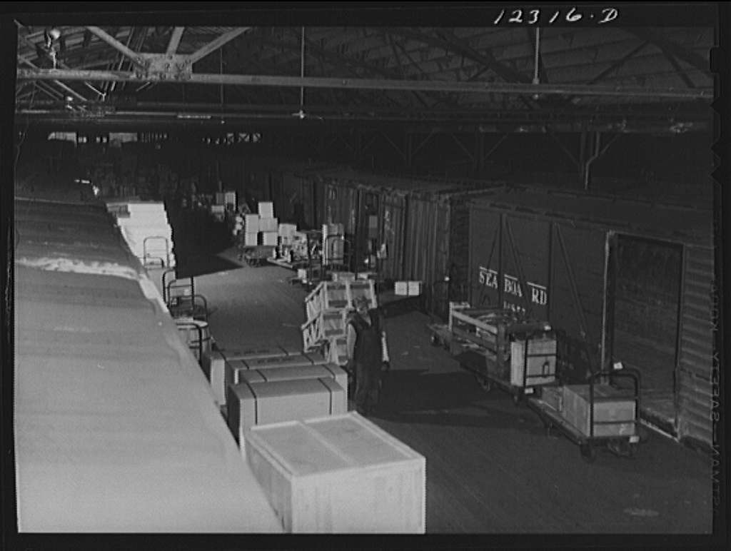 Chicago, Illinois. In the freight house at a Chicago and Northwestern Railroad yard