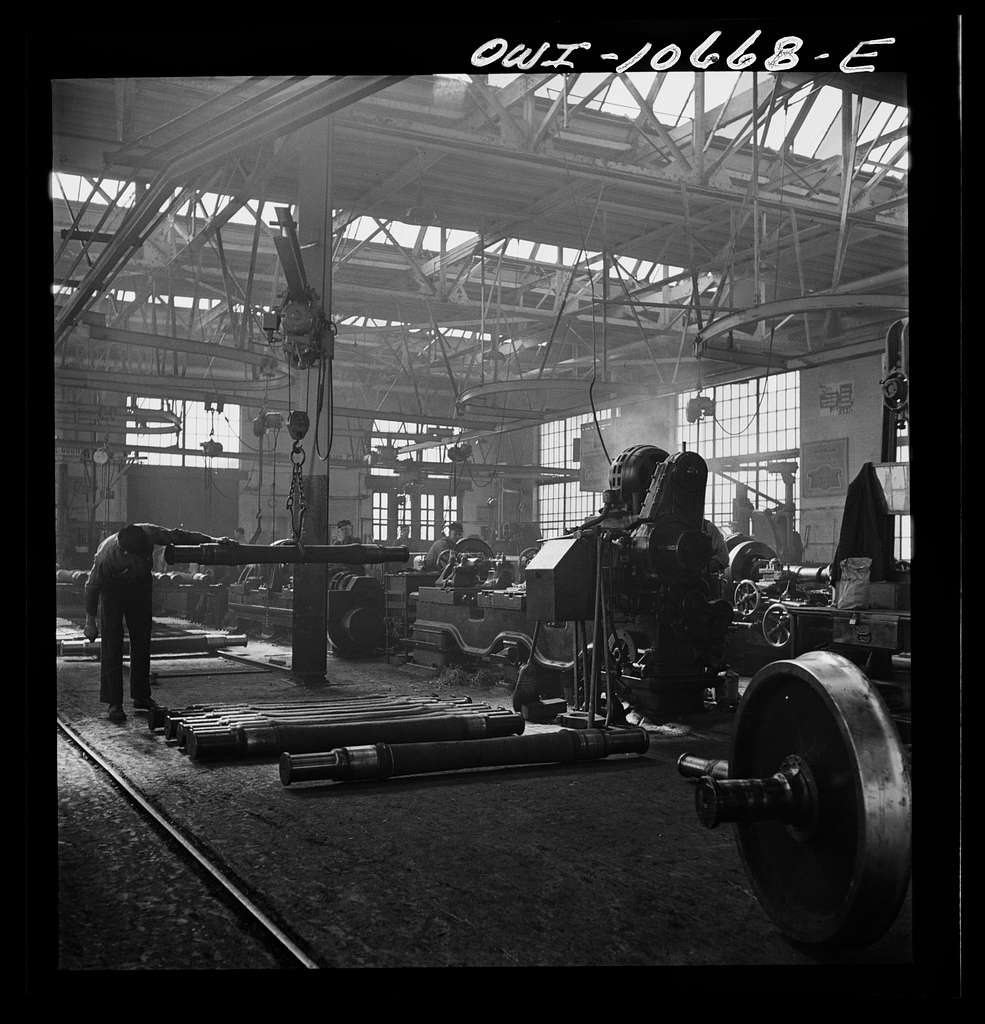 Chicago, Illinois. In the locomotive repair shops at an Illinois Central Railroad yard