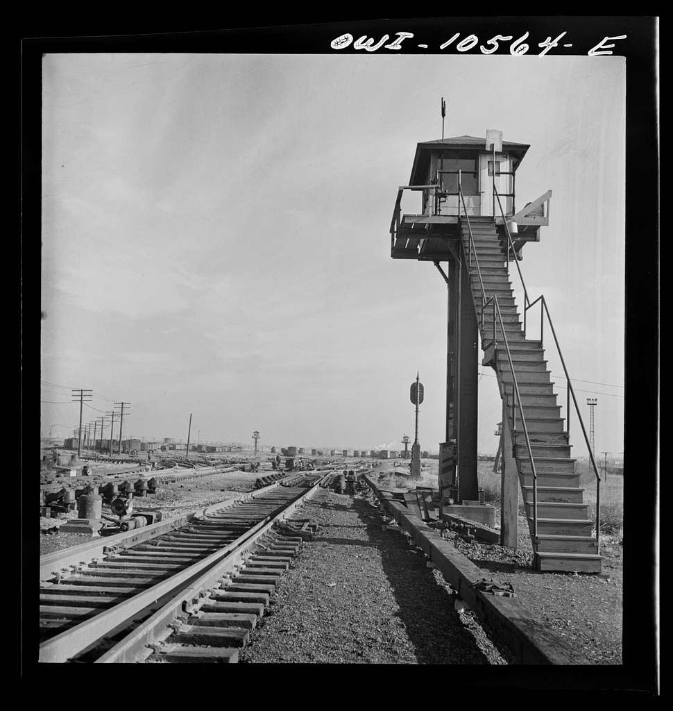 Chicago, Illinois. Retarder operator's tower at the north hump at an Illinois Central Railroad yard
