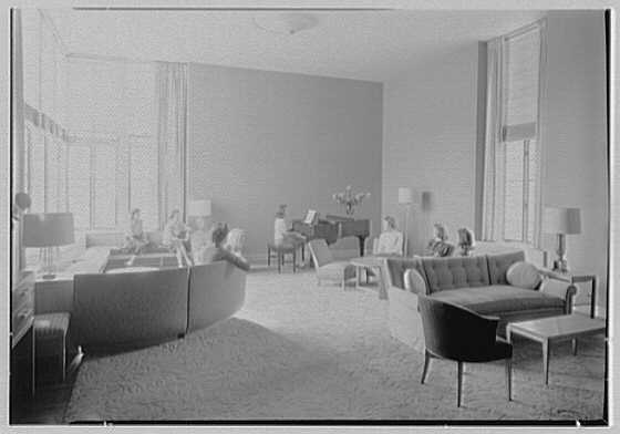 Goucher College, Mary Fisher Hall, Towson, Maryland. Living room, to piano