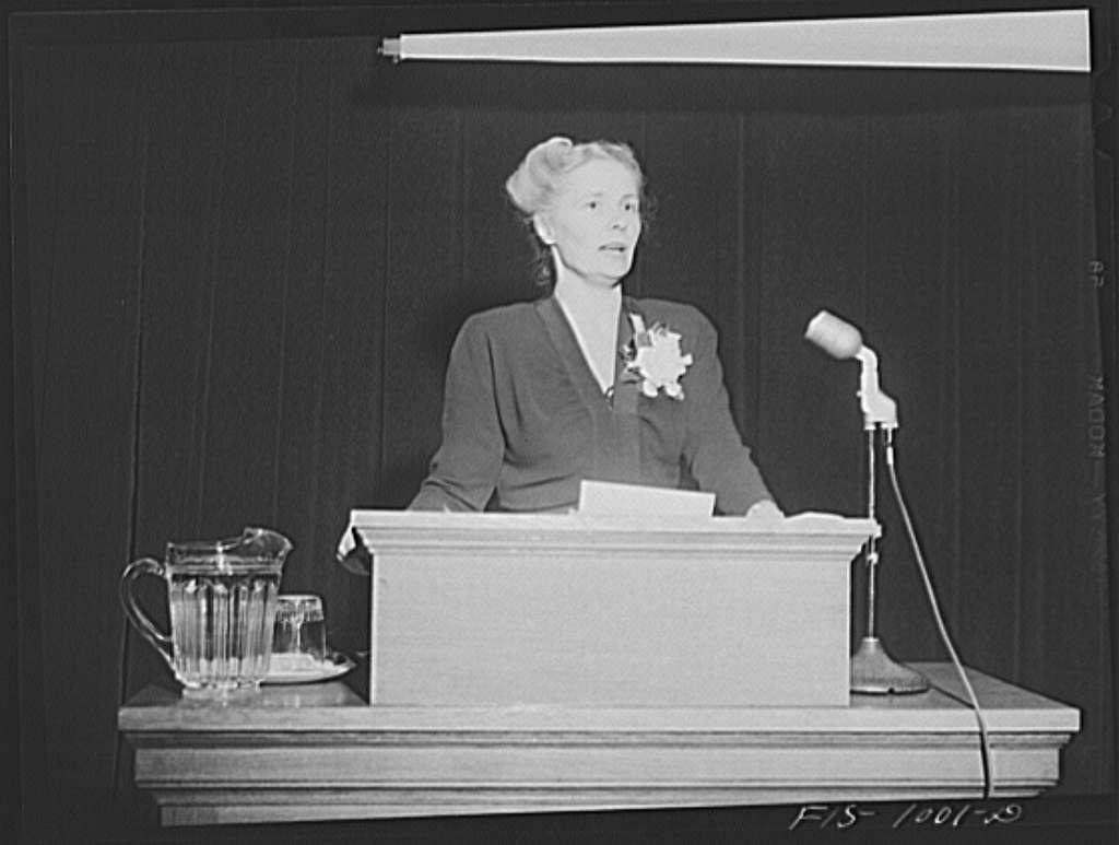 """Minneapolis, Minnesota. Mrs. Myrdal, Swedish lecturer, president of the Swedish Women's Business and Professional League. She lectured at a special meeting at the Swedish Institute of Art, Literature and Science in Minneapolis. Mrs. Myrdal and her husband are both well-known in Sweden and are here on a temporary visit to this country. The subject of Mrs. Myrdal's talk was """"Scandinavian unity"""""""