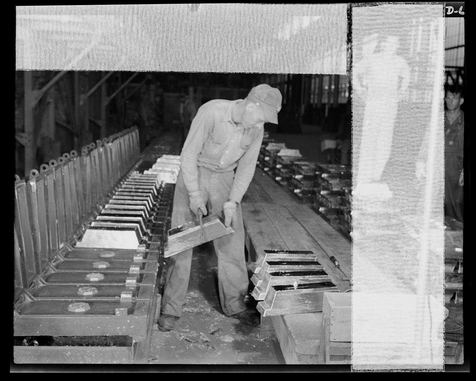 "Production. Tin smelting. Pure tin in the form of ""bars"" is removed from the molds at a Southern smelter. The bars had previously been scrapped and trimmed to remove all excess metal for remelting. The smelter, the most modern in the world, extracts pure metal from South American ore"