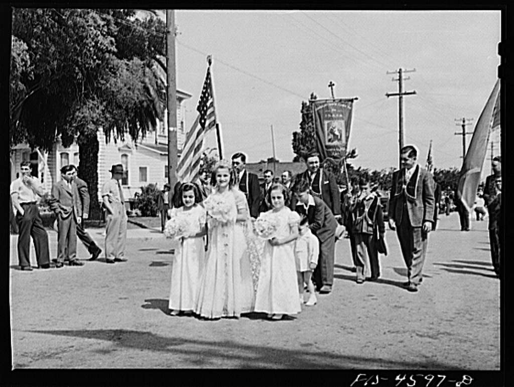 Queen of Portuguese-American society in parade of the Holy Ghost. Santa Clara, California