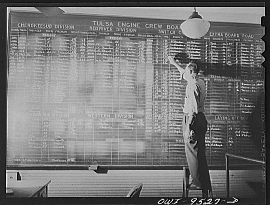 Tulsa, Oklahoma. Engine dispatching office in the Frisco railroad yards
