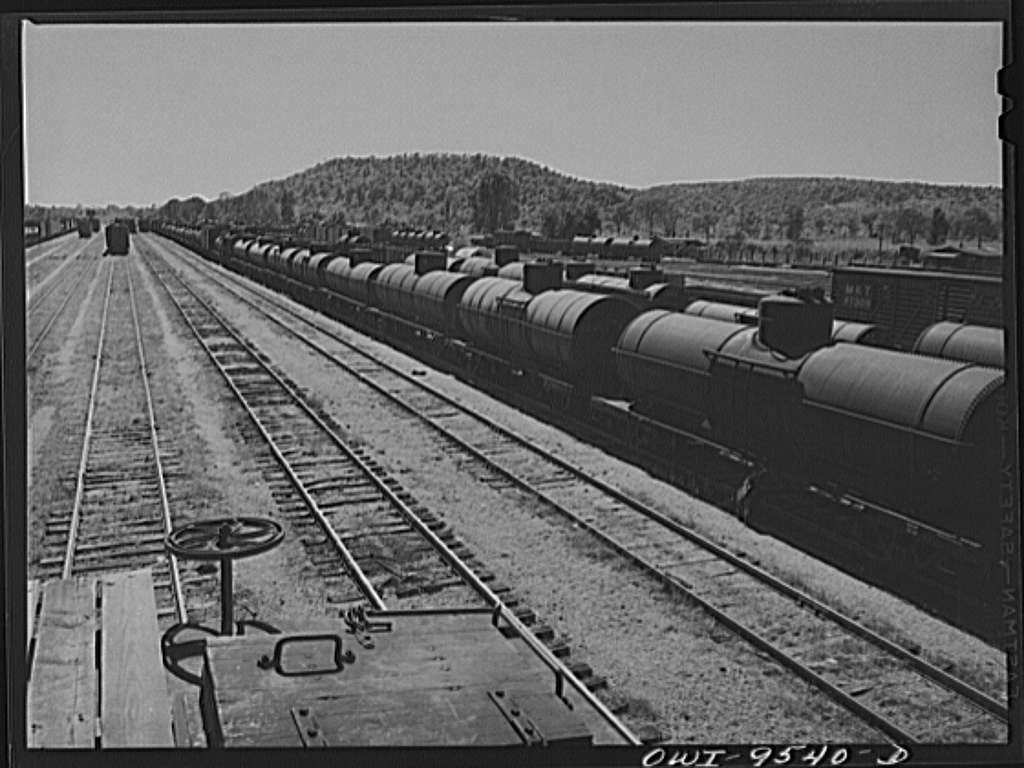 Tulsa, Oklahoma. Oil tank cars in the Frisco railroad yards