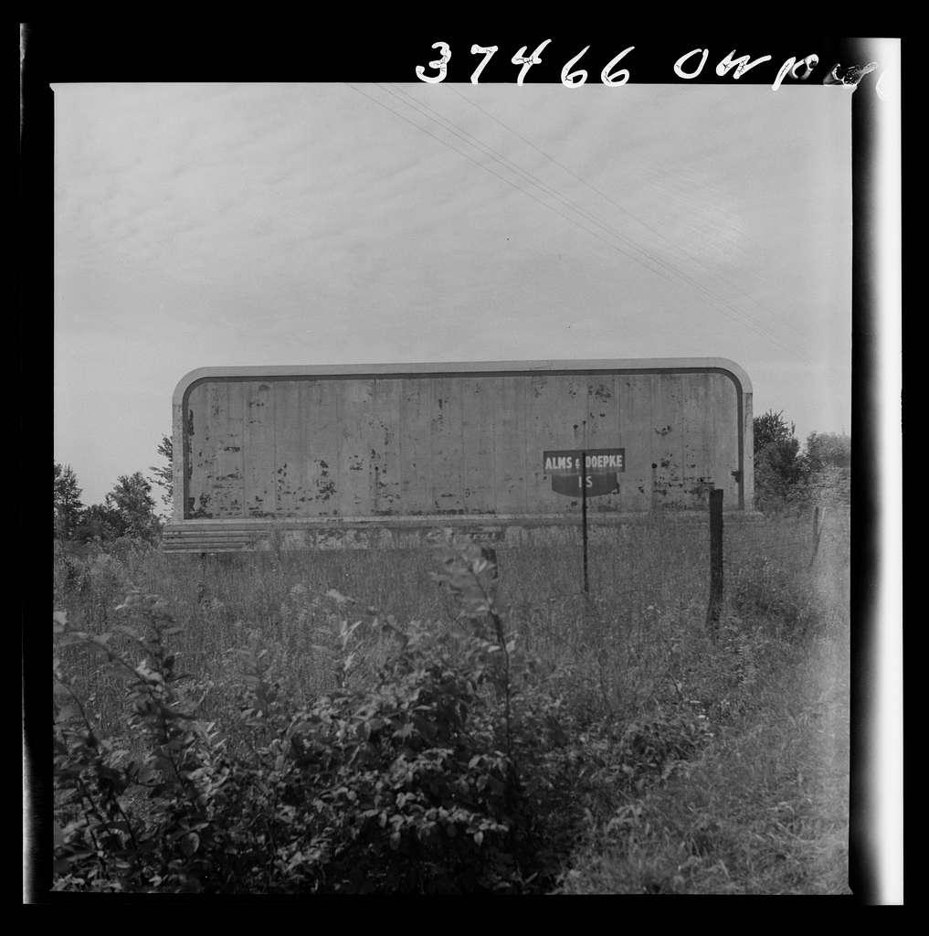 A blank billboard on the road between Columbus and Cincinnati, Ohio