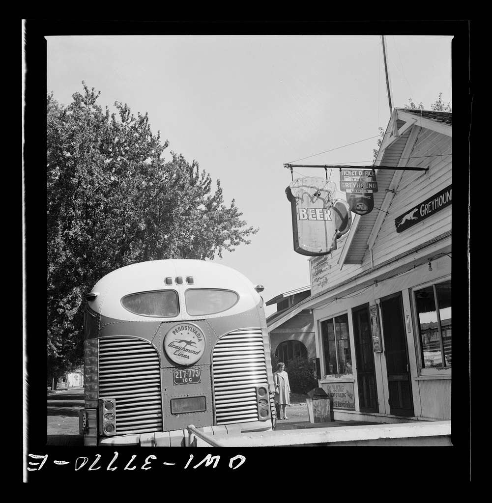 A Greyhound bus at a rest stop in Indiana
