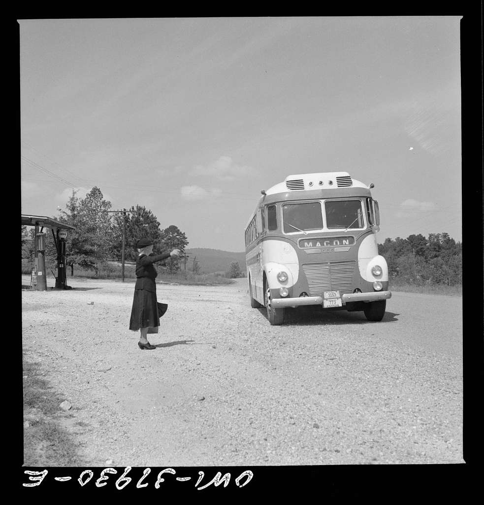 A Greyhound bus trip from Louisville, Kentucky, to Memphis, Tennessee, and the terminals. Hailing a Macon-bound bus on the highway in Georgia
