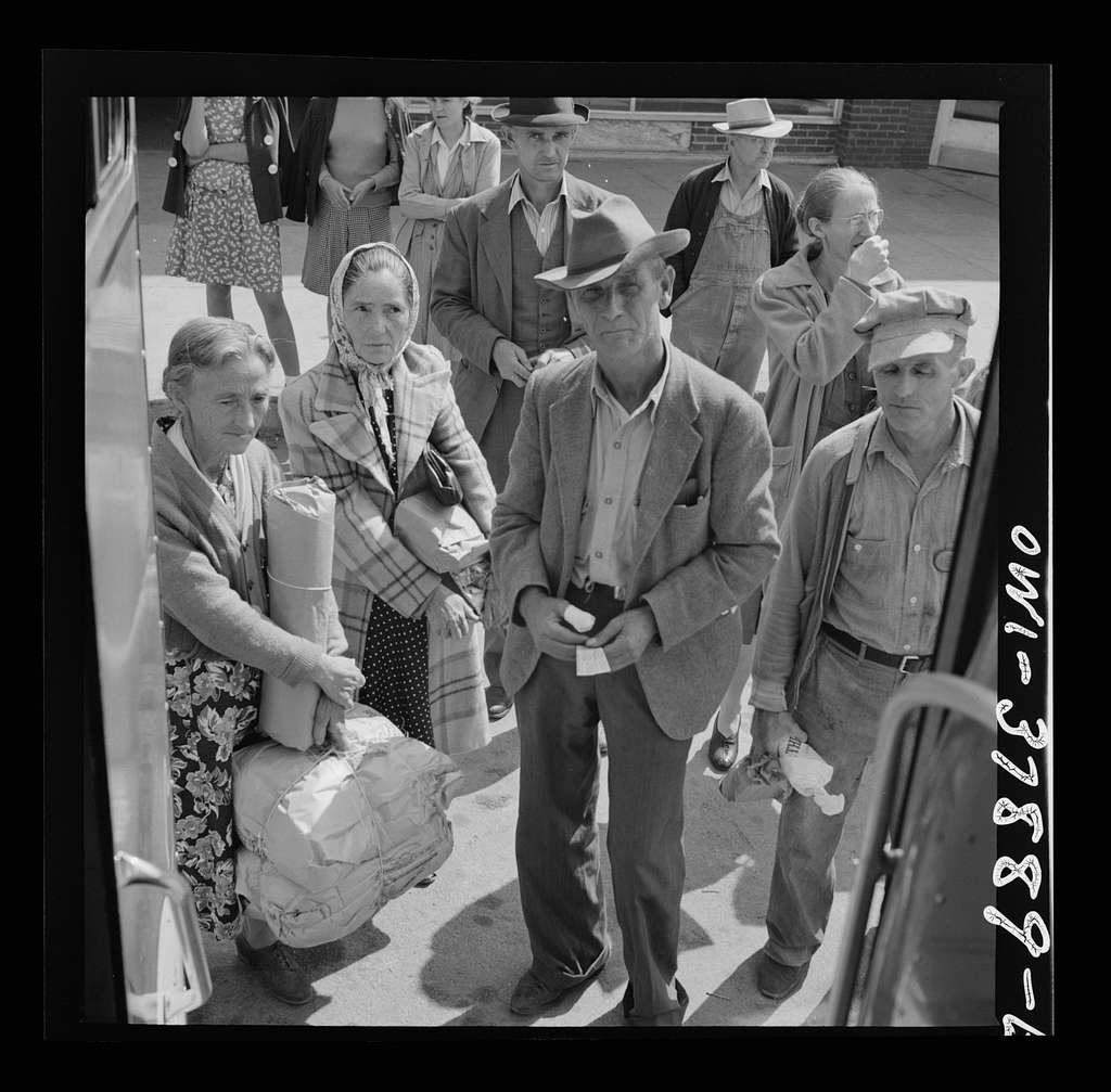 A Greyhound bus trip from Louisville, Kentucky, to Memphis, Tennessee, and the terminals. Passengers waiting to get on the Greyhound bus at Rome, Georgia. Most of them only travel a short distance, having come in from nearby farms to shop, etc