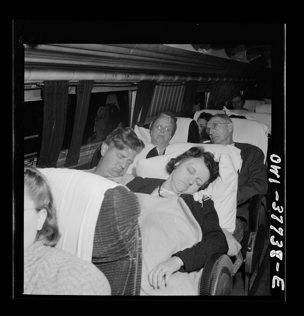 A Greyhound bus which is bound for Chicago, Illinois from Cincinnati, Ohio at two a.m