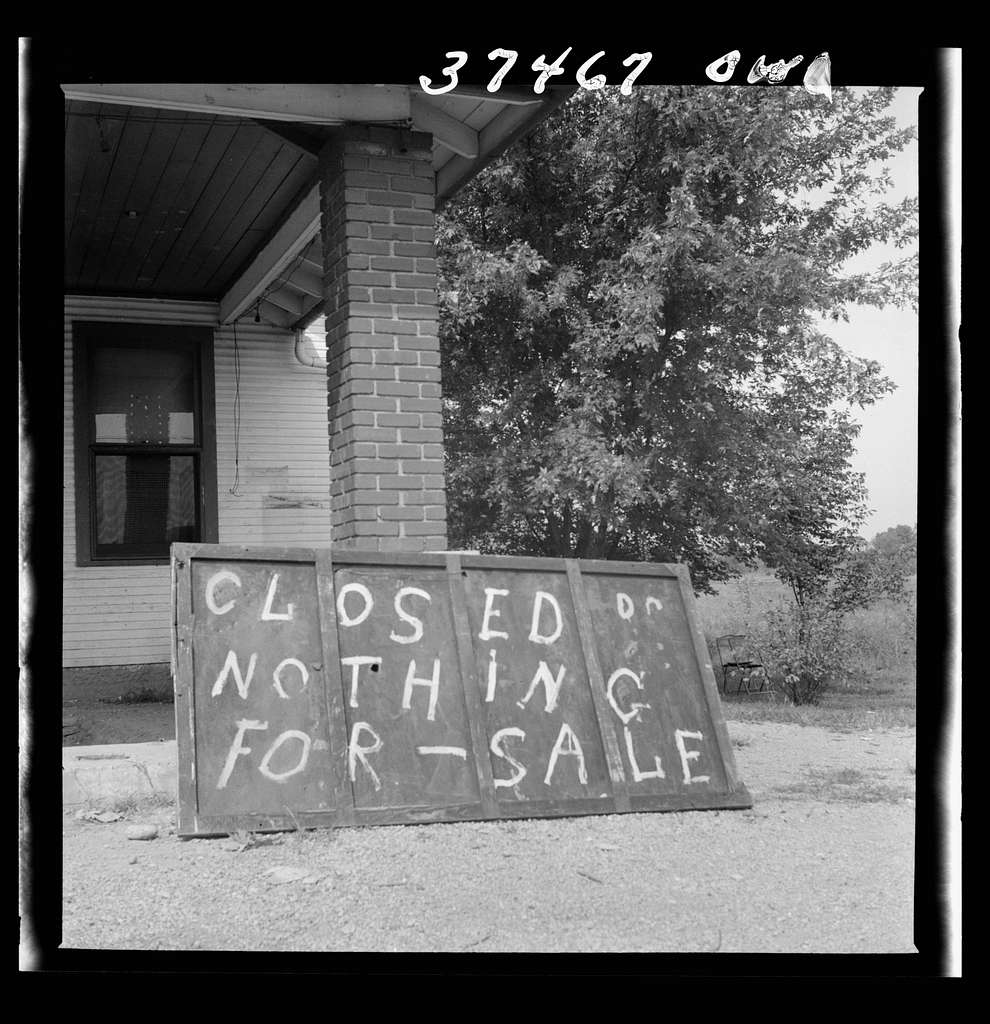 A sign in front of a former gas station on the road between Columbus and Cincinnati, Ohio