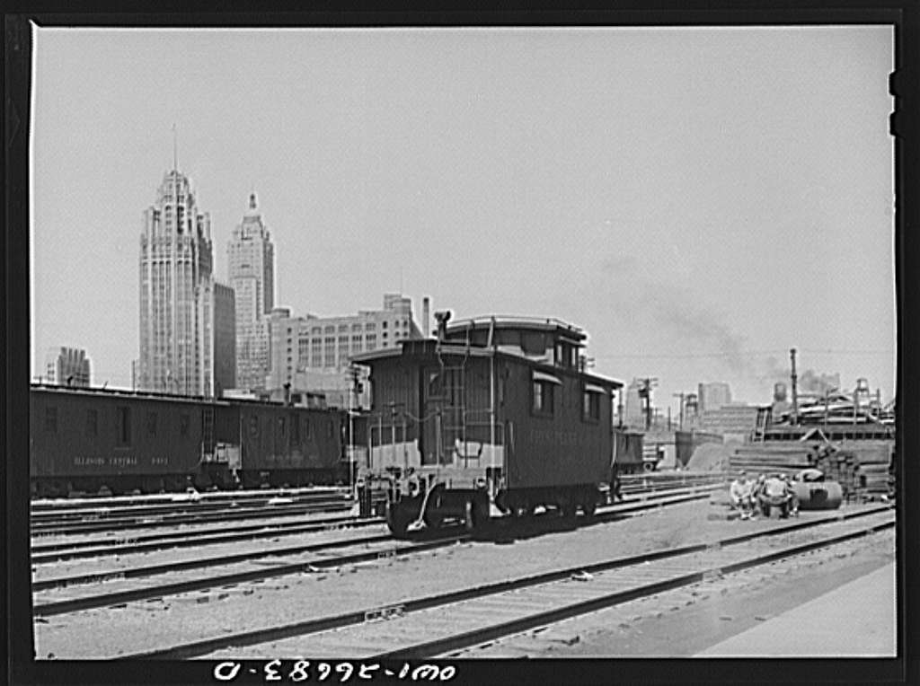 Chicago, Illinois. General view of part of the South Water Street freight depot of the Illinois Central Railroad