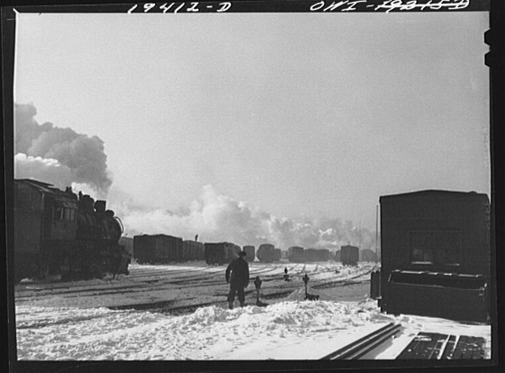 Chicago, Illinois. Switching cars in a yard