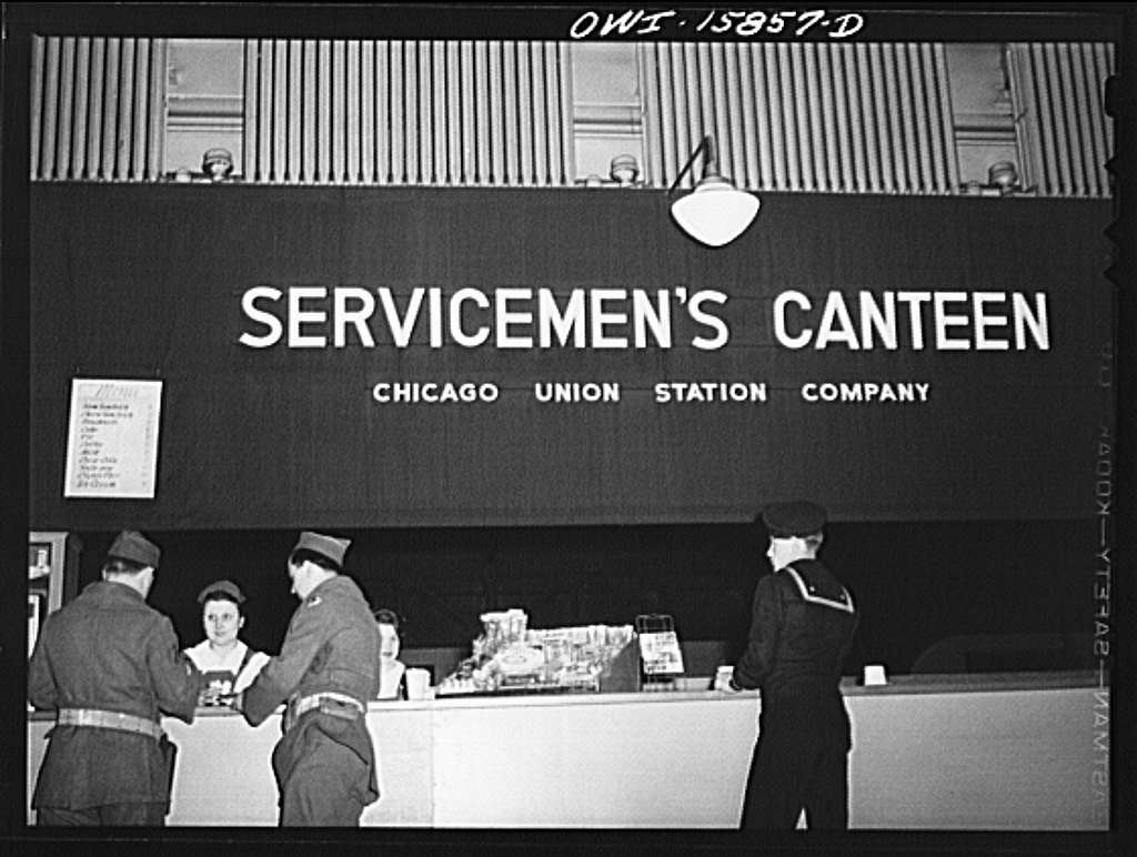 Chicago, Illinois. The servicemen's canteen is on the river side of the Union Station above the telegrapher's office
