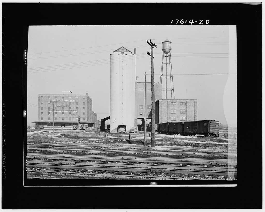 Chicago, Illinois. Warehouses and elevator near the freight yards of the Indiana Harbor Belt line railroad