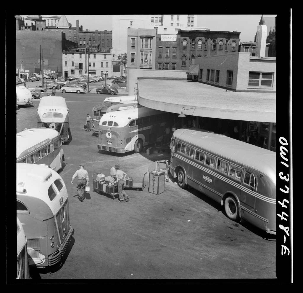 Columbus, Ohio. Buses pulled up at the Greyhound station