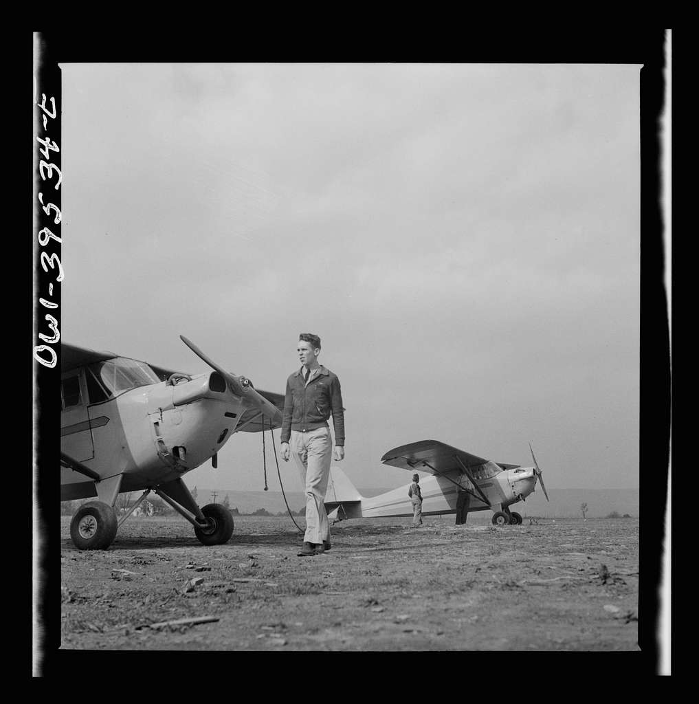 Frederick, Maryland. Walter Spangenberg, a student at Woodrow Wilson High School, at the Stevens Airport