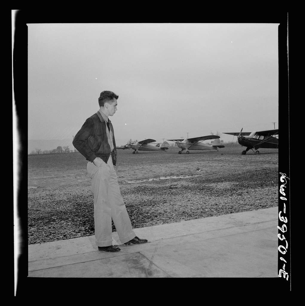 Frederick, Maryland. Walter Spangenberg, a student Woodrow Wilson High School, takes flying lessons at the Stevens Airport