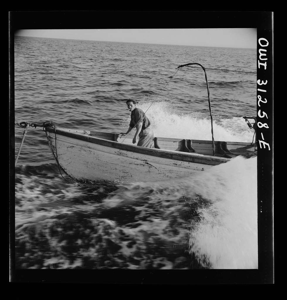 Giacomo Frusteri in the prow of the seining boat as it races to encircle a school of mackerel. Gloucester, Massachusetts