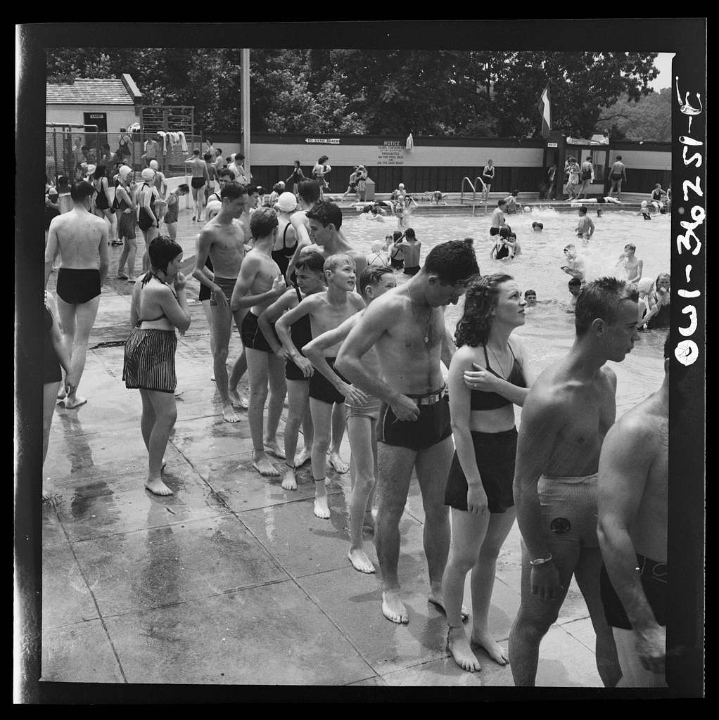 Glen Echo, Maryland. A line at the sliding board at the swimming pool in the Glen Echo amusement park