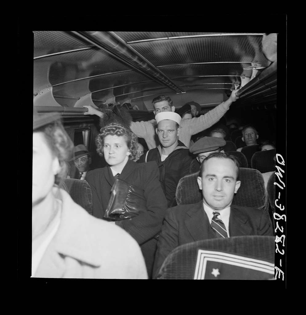 Passengers standing on a bus enroute from Roanoke, Virginia to Washington, D.C