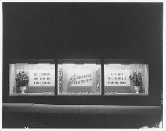 Potomac Electric Power Co. substations. Substation no. 38 window display: Conserve electricity