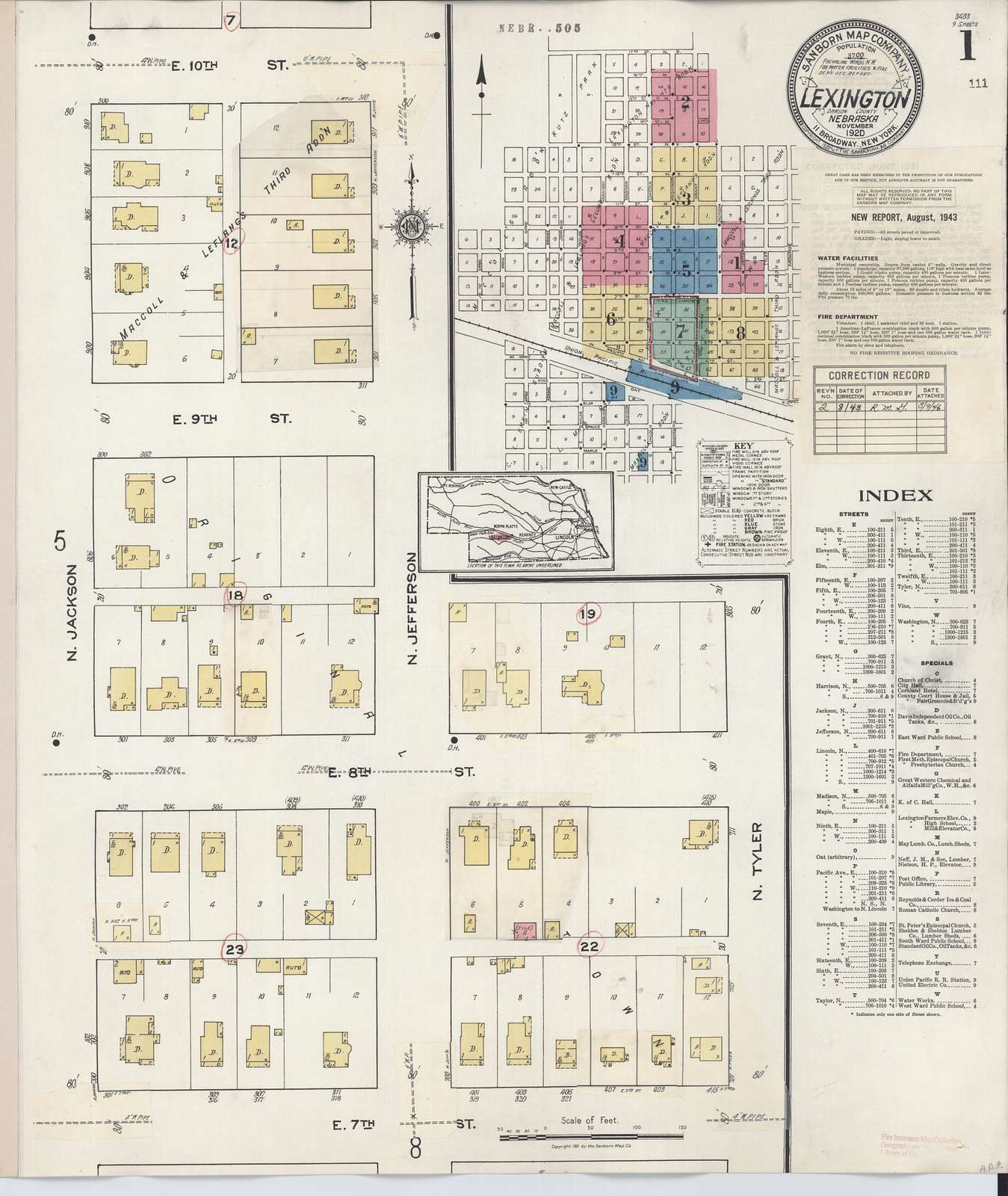 Sanborn Fire Insurance Map from Lexington, Dawson County, Nebraska