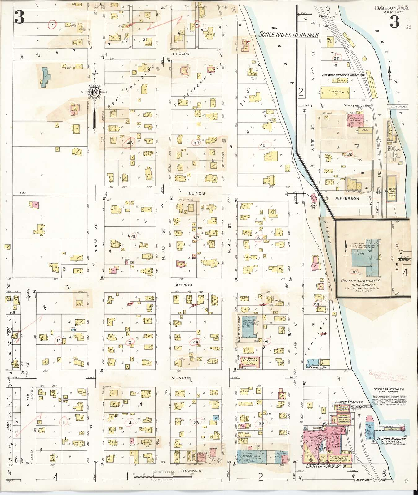 Sanborn Fire Insurance Map from Oregon, Ogle County, Illinois