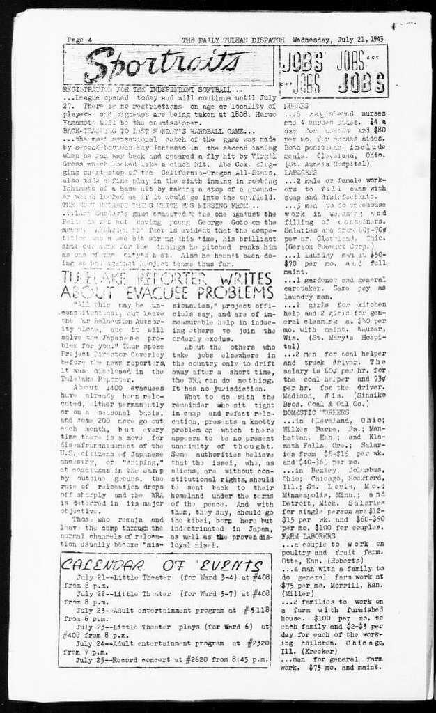 The daily Tulean dispatch (Newell, Calif.), July 21, 1943