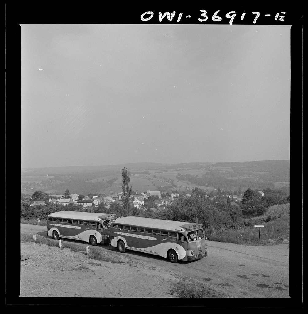 Two Greyhound buses on the way to Pittsburgh, Pennsylvania, from Washington, D.C