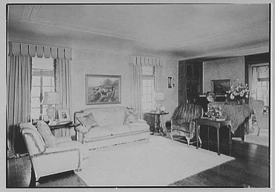 Albert P. Armour, residence at 123 Greenway North, Forest Hills, New York. Living room sofa detail